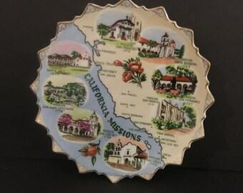 Vintage California Missions Souvenir Plate, Old Spanish Churches, Vintage Memorabilia