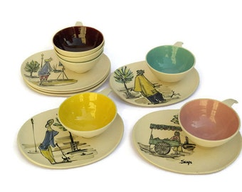 Mid Century Modern Ceramic Coffee Set.  1950s Design Coffee Cups and Saucers. Hand Painted French Art Pottery.