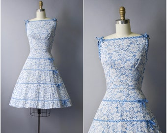 1950's Gingham Lace Sleeveless Dress • extra small