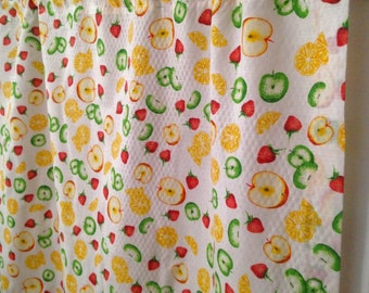 """darling kitchen cafe curtain, fruit fabric with zig zag trim; counry kitchen curtain, apple, berry, orange accents,28"""" x 26.5""""; yesteryears"""