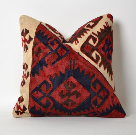 Kilim Cushion Cover Red Wine Navy Ivory Etsy Tribal Pillow
