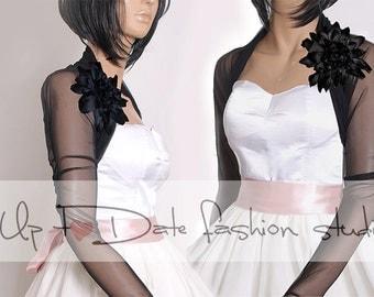 Black Bridal  tulle  jacket  ,long sleeves wedding bolero/cover up
