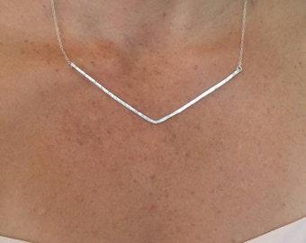 Extra Large Hammered V Bar Necklace, Silver, Hammered Necklace, Hammered Bar, Chevron Necklace, Large, Gold, Silver