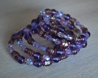 One of a kind women bracelet, glass beads bracelet, memory wire, purple beads bracelet