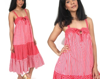 Vintage 70s Red White Polka Dot Stripe Tent Sun Dress Caftan Hippie Festival