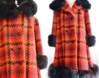Vintage | 1950's | Lilli Ann | San Francisco | A Line | Swing | Heavy Tweed | Fox Fur | Coat