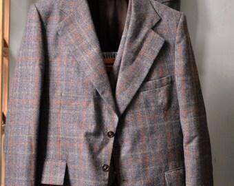 Vintage 1970s ERNESTO BELLINI Brown Glen Plaid w. Orange/Tan Overcheck3 PIECE Suit Jacket Vest Waistcoat Trousers Size 44 L Long 38 Waist