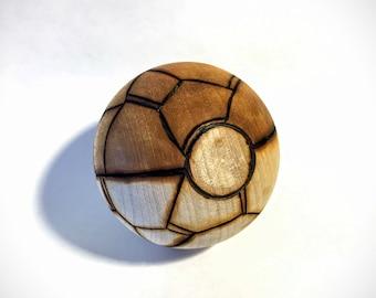 Rock Type Wood-Burned Pokeball (solid hardwood) for the Pokemon fan