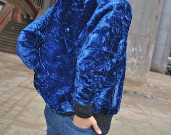Blue Crush/ Crushed Velvet Bomber Jacket/ Ladies Jacket/ Ladies Bomber/ Luxury Jacket/ Over sized/ Boyfriend fit