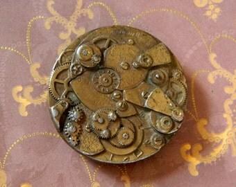 Bronze Steampunk Style Belt Buckle - Detailed Watch Movement Gears Belt Buckle - Vintage American Watch Co. Belt Buckle