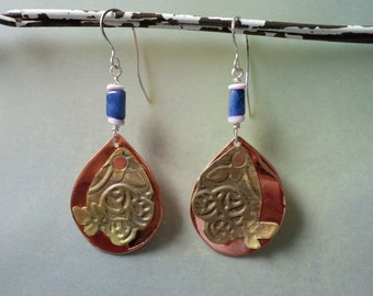 Embossed - Riveted Mixed Metal Earrings