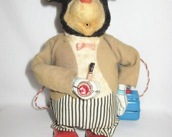 Vintage Marusan San Bear Smoking a Pipe Remote Control Tin Toy Made in Japan