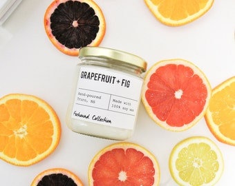 Grapefruit + Fig Scented Soy Candle / Hand poured /Small batch