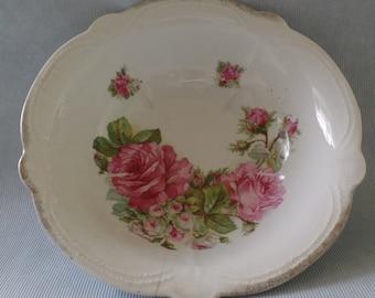 Large China Bowl, Old Antique Vegetable Dish, Pink Roses, Vintage Floral Cottage Decor, Red Lion, Made in Bavaria, Green Leaves
