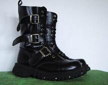 Black Combat Boots 12-hole . Size 9 UK, 10 US . 90s Grunge Boots . T.U.K. Boots . D032