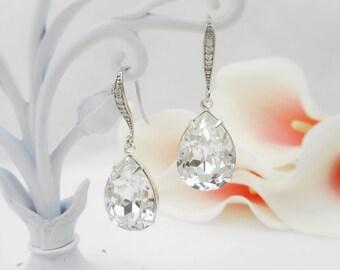 Swarovski Clear Crystal Teardrop Bridal Earrings Swarovski Bridesmaid Crystal Teardrop Earrings Bridesmaid Gift Free US Ship