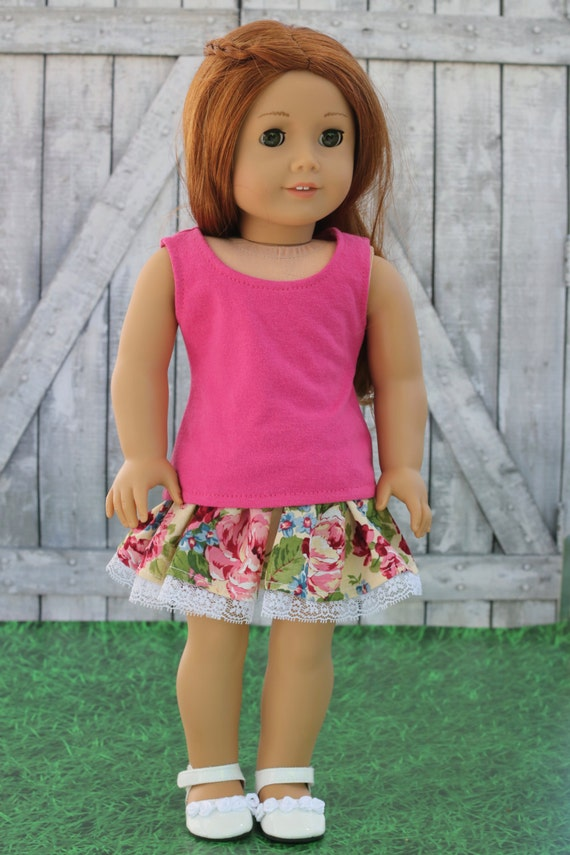 Doll Clothes | Solid Rose Pink T-Shirt Knit Scoop Neck TANK TOP 18 Inch Dolls such as American Girl Doll Clothes