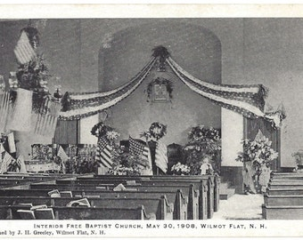Vintage Postcard - Interior Free Baptist Church - May 30, 1908 - Wilmot Flat - New Hampshire
