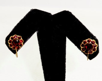 Vintage BOHEMIAN GARNET EARRINGS Gilt Sterling Silver Rose Cut Bohemian Garnet Cluster Earrings