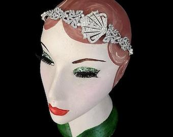 Art Deco Headband, Fan Headpiece, Vintage Headband, Bridal Headband, 1920s, Wedding Headband, Flapper, Gatsby, Rhinestone, Deco Wedding, Fan