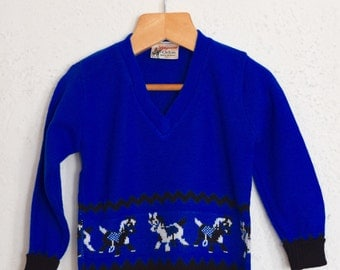 Giddy Up, Giddy Up - 1960's Royal Blue Orlon Horse Knit Sweater - Age 1 to 2