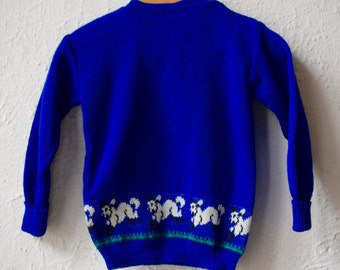 Spring Has Sprung - 1960's Wool Knit Blue Lamb Jumper - Age 9 to 18 Months