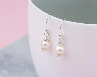 Handmade Sterling Silver Freshwater Pearl Drop Earrings