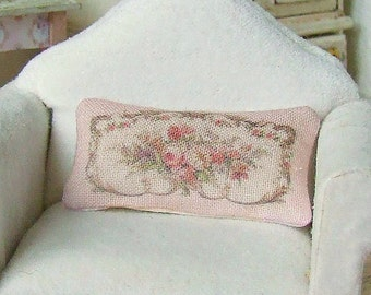 Dollhouse Miniature, Pink Aubusson Cushion, Dolls House Pillow, Floral Decor, French Style, Shabby Cottage Chic, 1:12th Scale