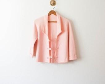 70s vintage bubblegum pink wool cardigan