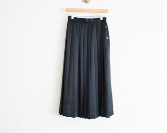 vintage 1980s black satin pleated midi skirt