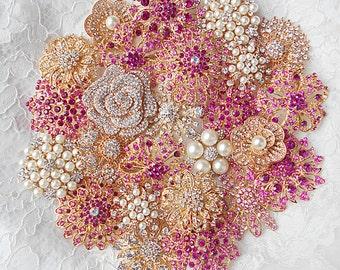 DIY Pink Brooch Bouquet Kit - 25 Rose Gold Brooch lot, Pearl, Handmade DIY Wedding, Wedding Supplies, Fushia broach, Craft Supplies