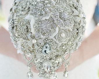 Custom Teardrop Brooch Bouquet - Silk Flower Cascading Bouquet, Ivory Champagne Fabric Flower  - 9 inch