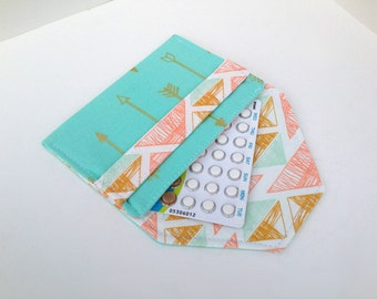 Birth Control Case / Pill Cozy - Birth Control Pill Pack / ID Wallet- Teal Anchor Print