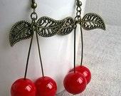 Handmade red cherry earrings Czech glass beads berries Jewelry Earrings Dangle Boho Folk dangly earrings summer Handmade MyWealth