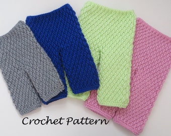 Crochet Pattern - Textured Pants for baby boy or girl - 4 Sizes: Newborn through 12 months - PDF file - digital download - instant download