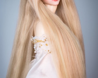 Extra Long! Elven gold (natural lincoln sheep wig for SD, MSD, Tiny)