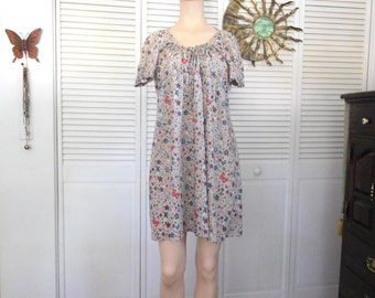 Hippie Dress Empire Waist Gathered Bohemian Style Boho Clothes Flower Material Brown Cotton Size Large XL Tie Back Primitive