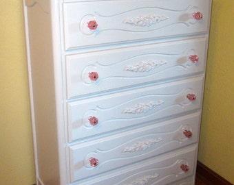 White Vintage French Provincial Highboy Dresser