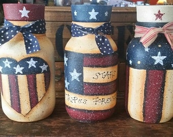 Patriotic Candle Votive Jar