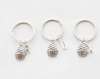 3 Friends Gift Cupcake Gift Set 3 Cupcake Keychains Baking Gift Silver Cupcake Jewelry Set of 3 Best Friend Keychains Baking Keychains Gift