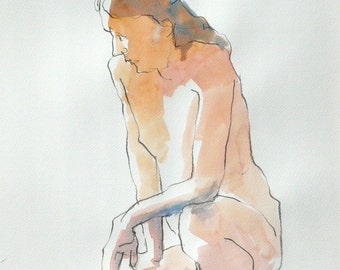 Original watercolor. Man, one knee. Sketch.