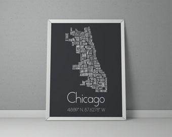 Superbe Chicago Typography, Chicago Map Art, Chicago Poster, Chicago Neighborhood, Chicago  Art Print