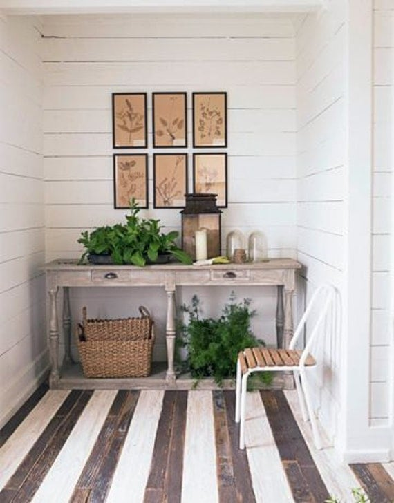 Farmhouse Chic Foyer : Custom painted farmhouse rustic sofa entry by