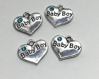4 baby boy heart charm, antique silver # CH 240