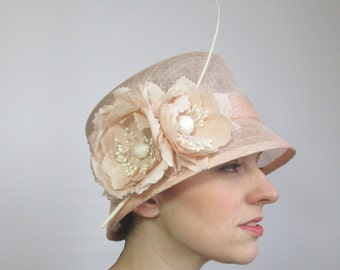 Cloche Wedding Hat - Ladies Hat, Peach Hat, Formal Hat, Race Hat, Ladies Wedding Hat, Sinamay Hat, Summer Wedding, Womens Hat, Cloche Hat