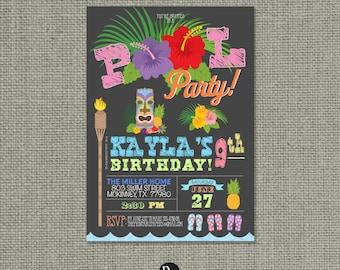 Printable Swim Pool Party Birthday Invitation Card | Pool Tiki | Flip Flops | Hawaiian Luau Design | Customize | DIY - No. POL2-2
