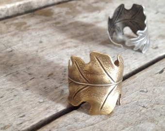 LEAF WRAP  - Ring, Adjustable Antiqued ox Brass or Silver band