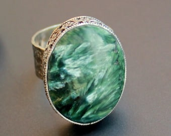 Ring with seraphinite , silver 925, handicrafted  ring