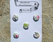 5 French Hand embroidered covered appliquéd  Buttons on Cotton 19mm 3/4""