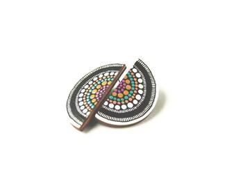 Colorful Wooden Earrings - Semicircle Geometric Earrings, Tribal Earrings, Big Studs, Ethnic Jewelry, Mandala Earrings